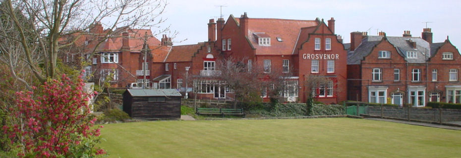 View of the Grosvenor across the bowls green